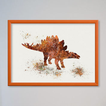 Stegosaurus Poster Watercolor Nursery Art Print Home Decor Wall Decor Animal Art Dinosaur Late Jurassic Period Children Birthday Gift Decor
