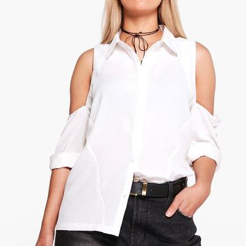 Plus Charlene Cold Shoulder Shirt | Boohoo