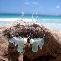 Hawaiian Small RARE Lavender, Dark Aqua Blue, & Aqua Beach Glass with Puka Shells on 925 Sterling Silver Circular Wire Small Hoop Earrings