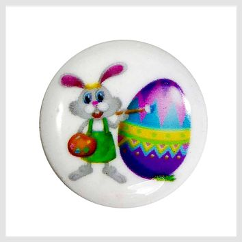 Snap Charm Easter Bunny and Egg Painted Enamel 20mm