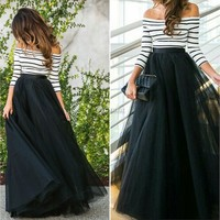 Women Fashion Stripe Tops T Shirt Mesh Long Skirt Party Dress 2pcs Clothing Set