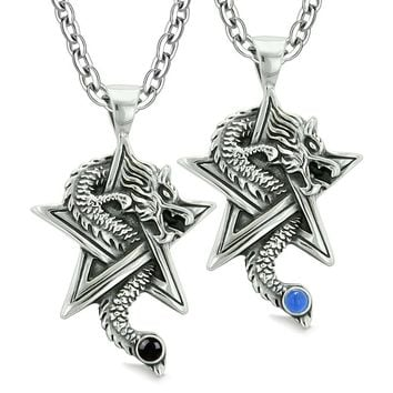 Courage Dragons Star Pentacle Amulets Couples Best Friends Blue Simulated Cats Eye Onyx Necklaces
