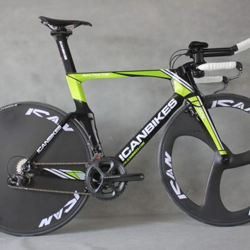 ICAN hidden cable carbon time trail bike completed TT bicycle 3 Spoke wheels +disc wheels