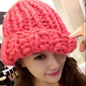 Women Winter Warm Hat Handmade Knitted Coarse Lines Cable Hats Knit Cap Candy Color Beanie Crochet Caps Women Accessories