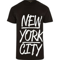 River Island MensBlack New York City print t-shirt