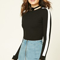 Contrast-Trimmed Knit Top