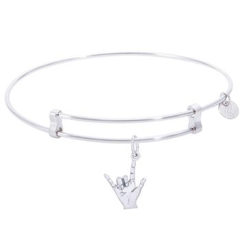 Sterling Silver Confident Bangle Bracelet With I Love You Charm