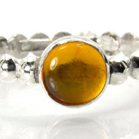 Amber Stacking Ring, Sterling Silver Bead Band Stacking Ring in Amber