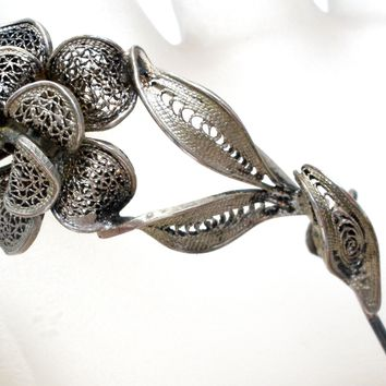 Sterling Silver Cannetille Flower Brooch Pin Vintage