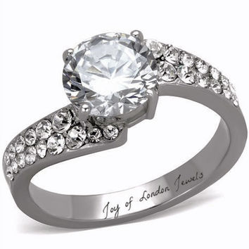 2.4CT Perfect Solitaire Cut Russian Lab Diamond Promise Engagement Anniversary Ring