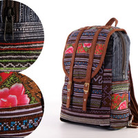 Small Exotic Indigo Backpack Vintage Traditional Hand Stitched Textile