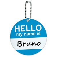 Bruno Hello My Name Is Round ID Card Luggage Tag