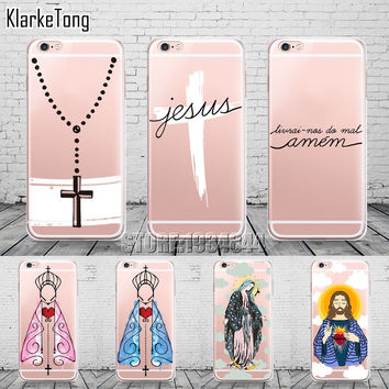 Amen Jesus Cruz Amor Design Cases Cover For iphone 6 6s 5 5s se 7/7plus Transparent Silicone Protective Phone Capa Capinha