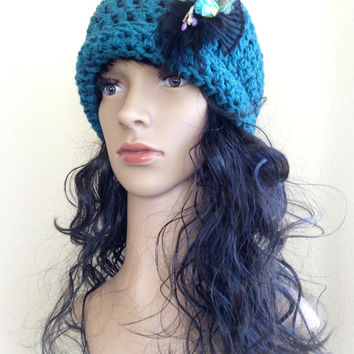 Teal Crochet Hat / Beanie with Removable Flowers & Feather Clip -Adult/Teen/Women