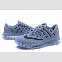"""NIKE"" Trending Air Max Toe Cap hook section knited Fashion Casual Sports Shoes Grey black hook(transparent soles)"