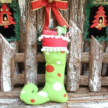 PEAPGB2 1 Pcs Lovely Xmas Boot Pendant Chrismas Tree Christmas Decoration Supplies For Children Gift Red Green Festival Party Ornament