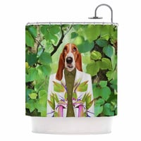 "Natt ""Into The Leaves N6"" Green Dog Shower Curtain"