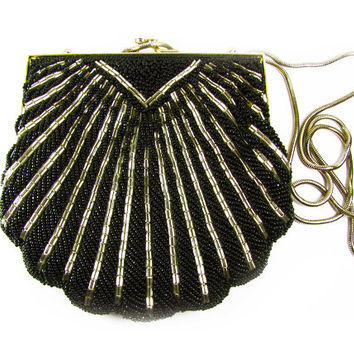 Vintage Beaded Purse in Black and Gold, Hand Made / Vintage Beaded Purse for Wedding - Sac de Soirée Rose.