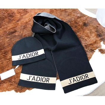 DIOR Autumn And Winter Fashion New Letter Print Women Men Keep Warm Cap And Scarf Black