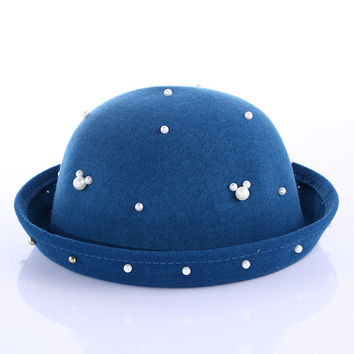 Korean Winter England Style Pearls Floral Ladies Vintage Hats [4917646084]