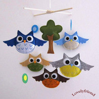 Hanging Mobile Baby Owls Both sides are identical by lovelyfriend