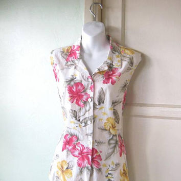 Off-Sage/Orchid Print Sleeveless Cotton Top; Women's XXL Classic Midcentury Hawaiian Print Blouse;  U.S. Shipping Included