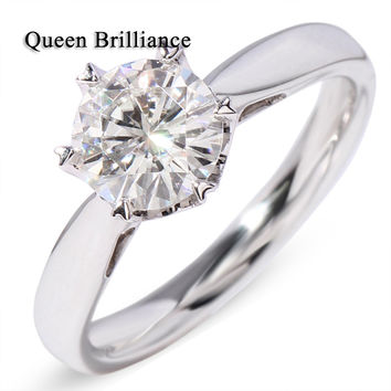 Queen Brilliance 14K 585 Eternity White Gold With Prong Setting 1 Ct Fine Moissanite stone  For White Betrothal wedding Ring