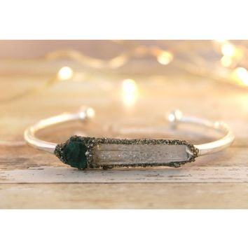 Clear Quartz & Raw Emerald May Birthstone Gemstone Bracelet