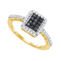 Black Diamond Fashion Ring in 10k Gold 0.45 ctw