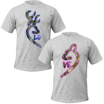 Browning Deer Love Couple real tree T-shirt Love Couple