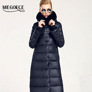 Women Coat Jacket Medium Length Woman Parka With A Rabbit Fur Winter Thick Coat Women  New Winter Collection
