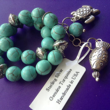 Turquoise Charm Bracelet sterling silver NEW Gemstones Southwestern Stretch Dangling Fish Turtle tribal vintage healing jewelry gift