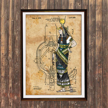 Egypt print Antique decor Steampunk poster Patent print SOL148