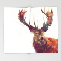 Red Deer // Stag Throw Blanket by Amy Hamilton | Society6