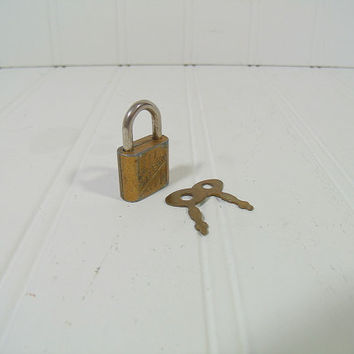 Antique Brass Tone Walsco Working Miniature Lock with Original Pair of 2 Keys - Vintage Tiny Jewelry Box / Diary Padlock with Working Keys