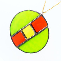 Green, Orange, Yellow Abstract Stained Glass Sun Catcher Ready to Ship
