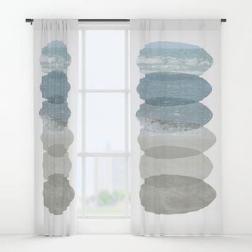 Beach Fragments Window Curtains by ARTbyJWP
