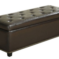 Rectangular Storage Ottoman Stylish Living Room Furniture Brown Bonded Leather