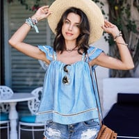 Women's HOT Chambre Denim and Lace Short Sleeve Ruffle Blouse