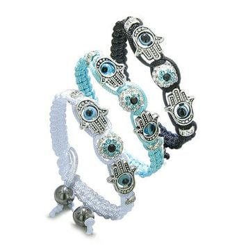 Magic Evil Eye Protection Best Friends Forever BBF Hamsa Amulet Black White Blue Bracelets