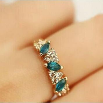 Vintage Gemstone Crystal Ring for Women (Adjustable)