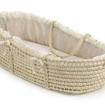 Badger Basket Natural Moses Basket with Beige Gingham Bedding