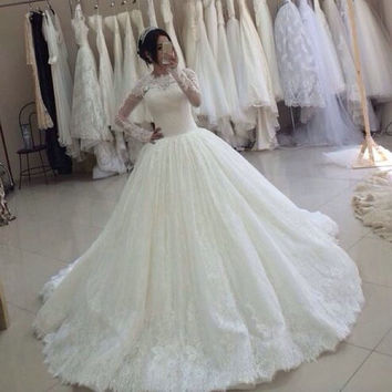 French Style Long Sleeve Covered Lace Wedding Dress 2015 Lace