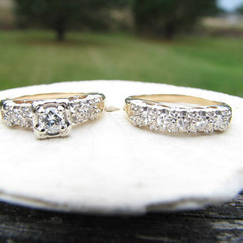 Beautiful 1940's Diamond Wedding Set - Original Matching Engagement Ring and Wedding Band - Fiery Old Transitional Cut Diamond
