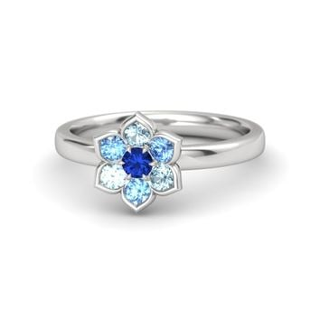 Round Sapphire Sterling Silver Ring with Blue Topaz & Aquamarine