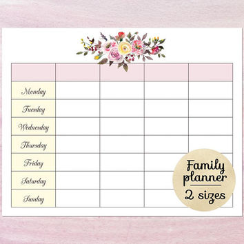 Printable blank calendar planner, Blank weekly schedule template, Weekly family planner calendar download PDF Funny family calendar template