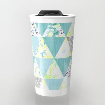 PASTEL NEON GEO FLORALS IN MINT Travel Mug by Nika | Society6