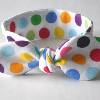 Polka Dot Knotted Baby Headband, Infant Headband, Newborn Headband, T-shirt Headband Baby, Jersey Headband Baby, Fabric Headband, Photo Prop