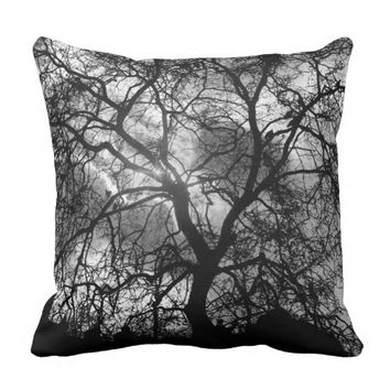 Dramatic Tree Silhouette Throw Pillow