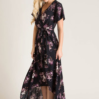Melody Navy Floral Wrap Maxi Dress
